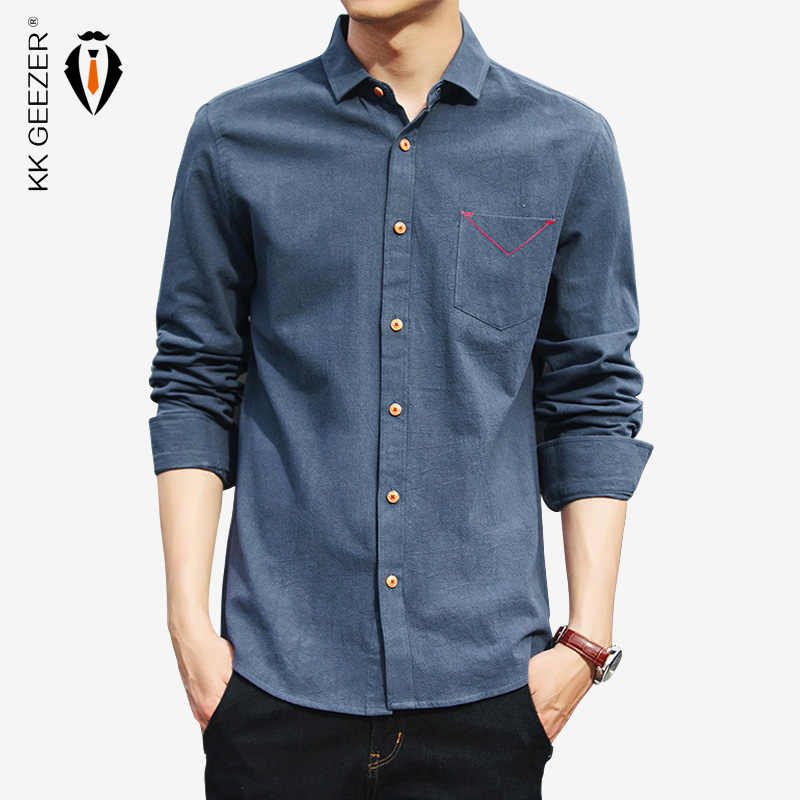 봄 남성 캐주얼 셔츠 코 튼 블랙 화이트 긴 소매 의류 남자의 착용 긴 소매 슬림 맞는 블라우스 플러스 크기 M 5XL