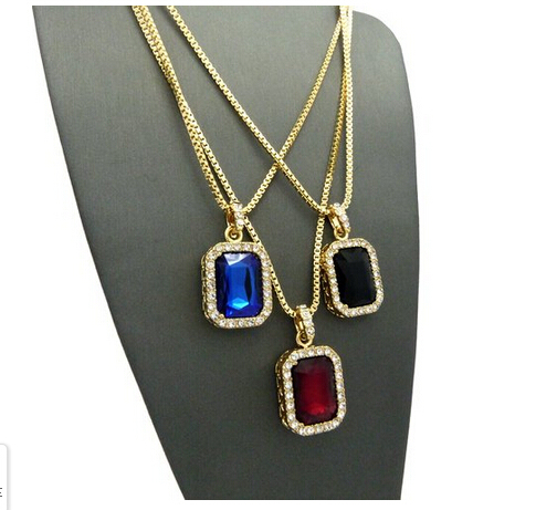 Micro Square Red & Black & Blue Necklace Pendant 2.4mm 24 4