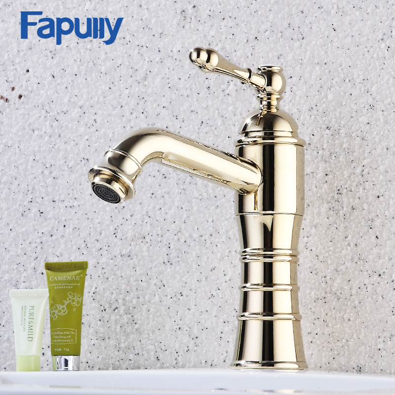 Fapully Bathroom Taps Gold Faucet Modern Tall Finish Faucets