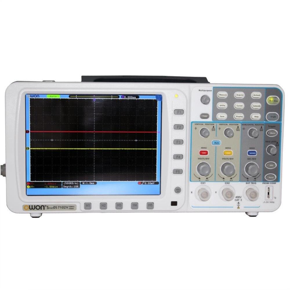 OWON 100 Mhz Oscilloscope SDS7102V 1 G/s grand 8 LCD LAN + VGA + batterie + sac 3 ans garantie AKL77102VBB