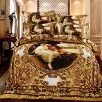 Luxus Queen-size-3d ölgemälde Klassischen kunst Bettwäsche set Stellte abdeckung bettlaken Kissenbezug 4 Stücke Bett eingestellt housse de couette