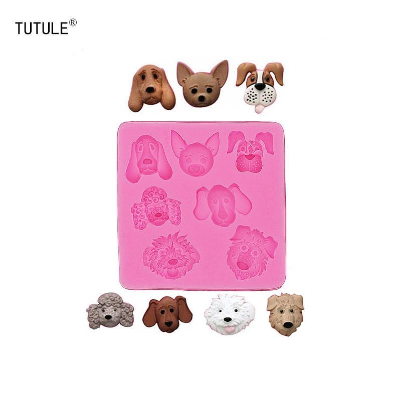 Gadgets - Cabeza de perro, goma de silicona, comida flexible, seguro, moldes, cerámica, resina, caramelo, fondant, caramelo, chocolate, jabón, molde