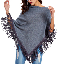 Top QualityWomen Autumn Winter Knitted Wool Sweater Poncho Shawl Solid Pullover Scarf Irregular Tassel Hem Cape Cloak Pull Femme(China)
