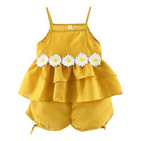 NewCotton Solid Color 1 3Y Childern Summer Fashion Concise Cute Sleeveless Camisole&shoer Pants Set Flower Decor Baby Girl Set