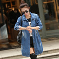 2016 High Quality jeans female frayed medium-long plus size denim overcoat long-sleeve loose trench coat for women L203