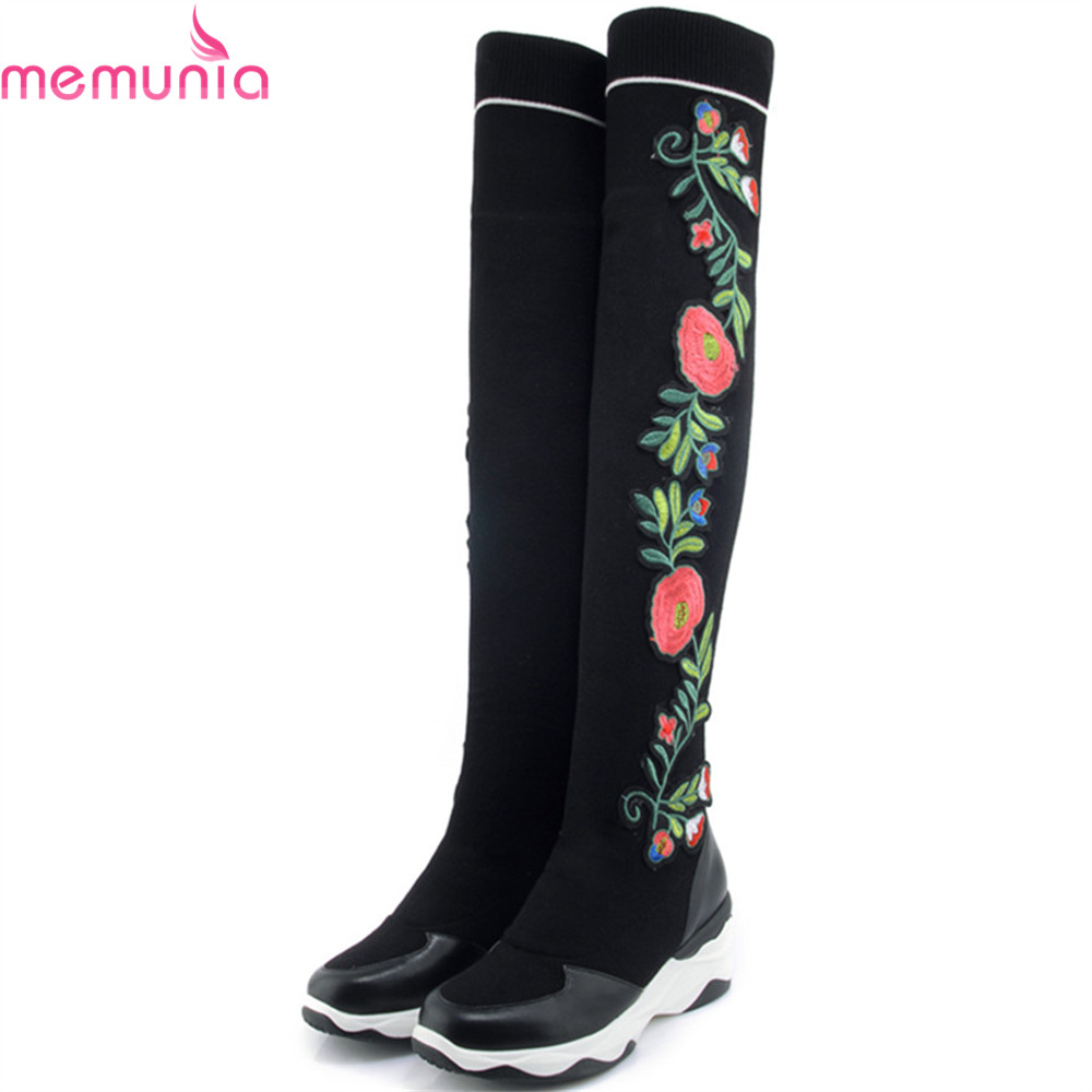 MEMUNIA 2018 fashion new arrive women boots round toe genuine leather +Wool boots comfortable wedges over the knee boots