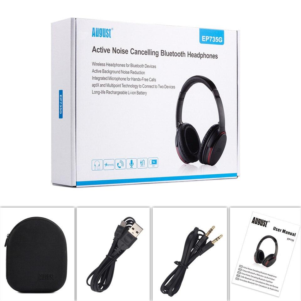 August EP735 Aktive Noise Cancelling Bluetooth Kopfhörer Drahtlose mit Mic Bluetooth 4,1 Stereo ANC Headset für Luft Reise aptX - 6