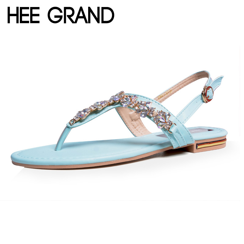HEE GRAND Rhinestone Women Sandals Flat With Elastic Band Crystal Flip Flops Summer Style Shoes For Woman XWZ3561 hee grand women gladiator sandals simple flat with buckle flip fflops woman summer casual shoes xwz3789