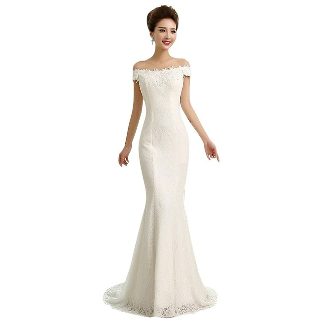 3580ddc4d128 Hot Sale Simple Lace Wedding Dresses Elegant Mermaid Off Shoulder Appliques  Beaded Red White vestido de noiva robe de mariage