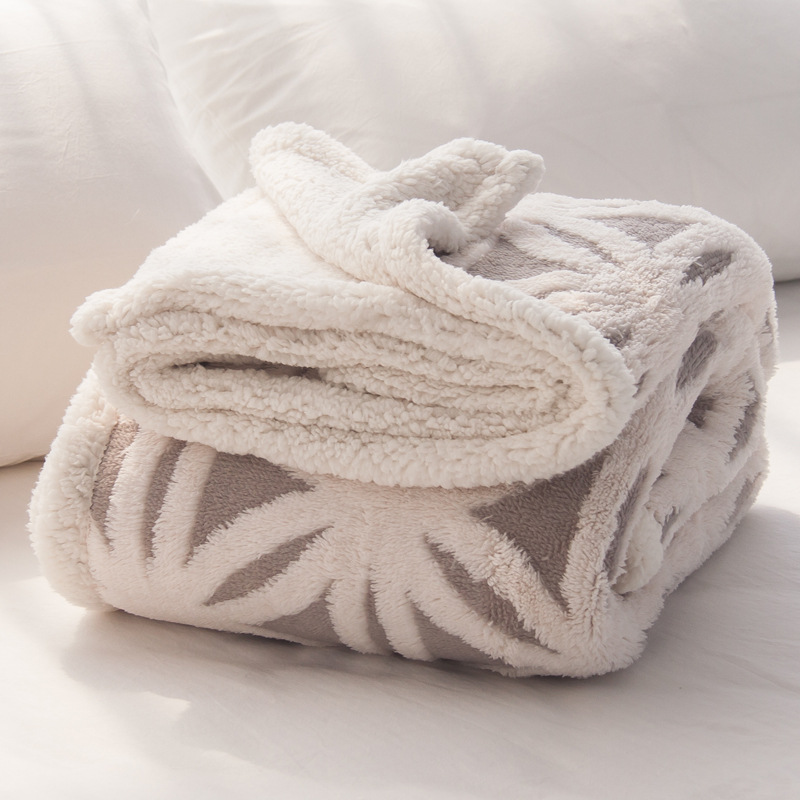Knit Jacquard Flannel Fleece Blanket 2 Layers Blanket For