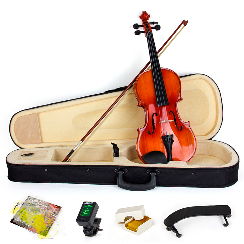 Violin 4/4 Full Size Acoustic Fiddle Musical Instruments with Case Bow Shoulder Rest Tuner Strings Maple Wood 4 4 electric acoustic violin basswood fiddle with violin case cover bow rosin for musical stringed instrument lovers beginners