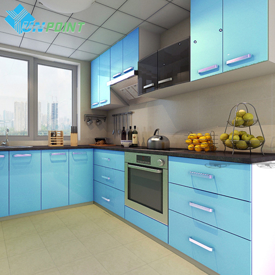 60cmX3m Kitchen Cabinet Renovation Stickers Blue DIY Decorative Film ...