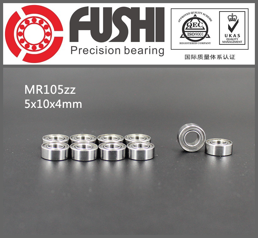 MR105ZZ Bearing ABEC-1 (10PCS) 5*10*4 mm Miniature MR105 ZZ Ball Bearings L-1050ZZ MR105z 6903zz bearing abec 1 10pcs 17x30x7 mm thin section 6903 zz ball bearings 6903z 61903 z