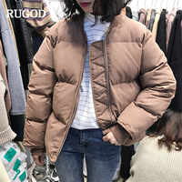 RUGOD 新厚い女性ジャケットコートロングスリーブソリッド綿コートカジュアルジッパー暖かい冬服ファッション雪の摩耗 veste ファム