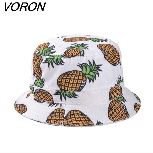 VORON Free Shipping 2017 New Fashion Lovely Summer White Pineapple Printed Bucket Hats For Women/Girls