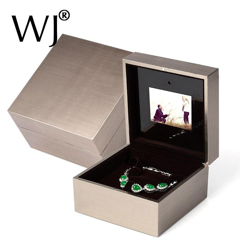 Ritzy Boîte De Bague De Fiançailles avec LED Lumière Musique et Lecture Vidéo Bracelet Pendentif Collier De Stockage De Mariage Proposer Anneau Affichage Boîte