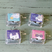 South Korea Stationery Sweet Cat Hand Acrylic Music Box Gift Creative Student Desktop Decoration