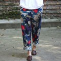 loose trousers printed linen casual pants Elastic waist printing Harem jumper for female New 2017 spring fall women's clothing