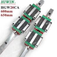 HIWIN 600mm 2pcs HGR20 Linear Rail + 4pcs HGW20CC CNC Linear Guide Rail Block CNC kit HGW20 650mm