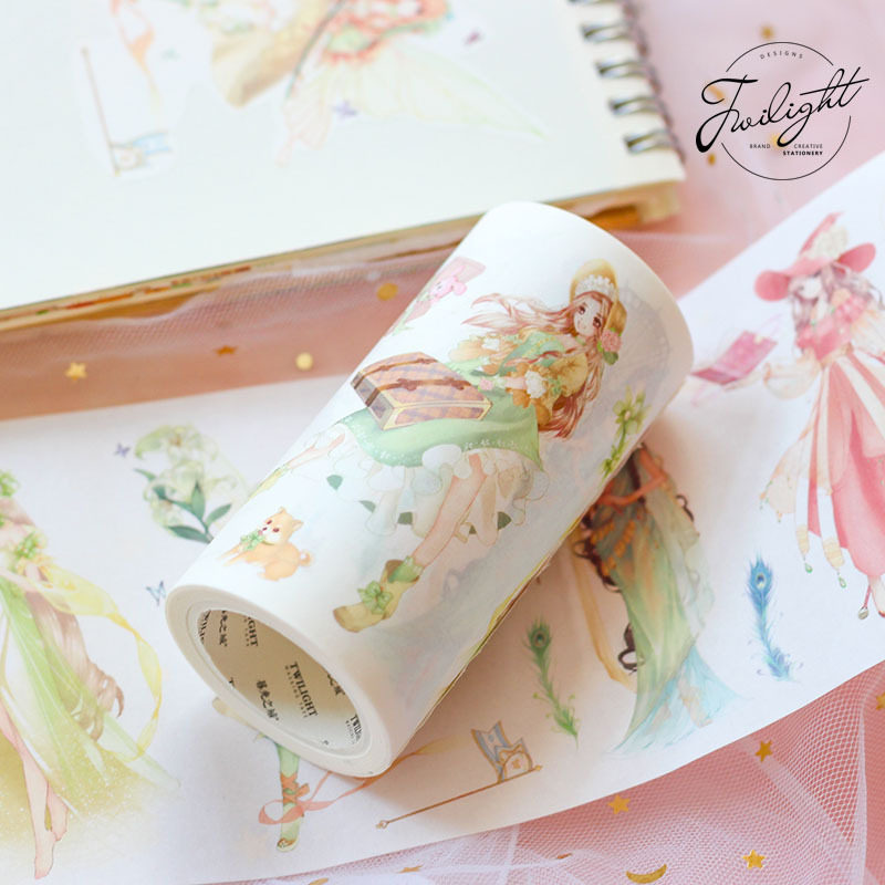 Cute magic girl wide washi tape high quality masking tape 90mm*5M high quality filament tape 4cm wide