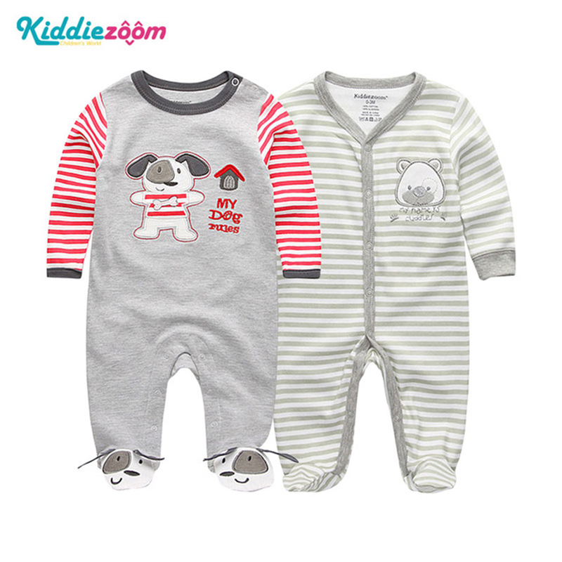 Cute Austria Dog Paw Sleepwear Long Sleeve Cotton Rompers for Unisex Baby