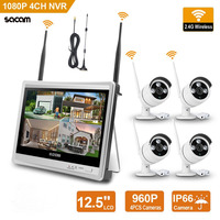 Wireless Home Camera Video Surveillance System 4CH NVR Kit 1080P Security System CCTV Wifi 12.5inch LCD Monitor and 4 Channel