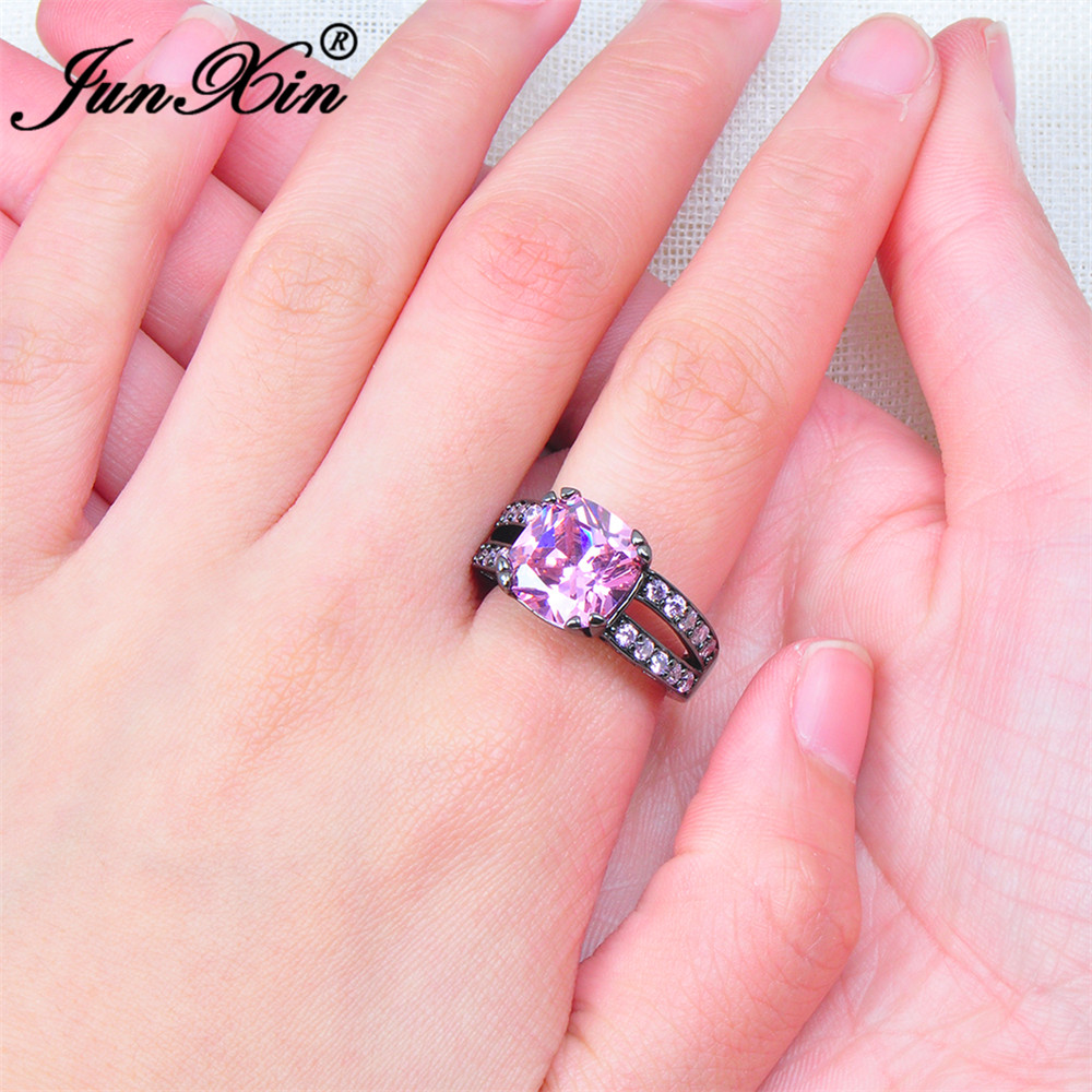 JUNXIN Luxury Big Pink Zircon Ring Vintage Black Gold Wedding Rings ...
