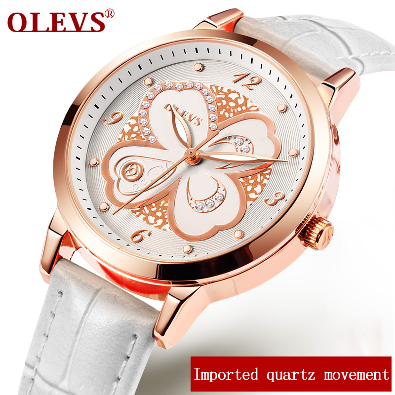OLEVS Fashion Ladies Watch Women Leather Wrist Watches Imported quartz movement Diamond Rose Gold Clock bayan kol saati White cartoon gold horse print blue leather strap sports ladies quartz watch relojes hombre 2017 bayan saat women watches hodinky b133