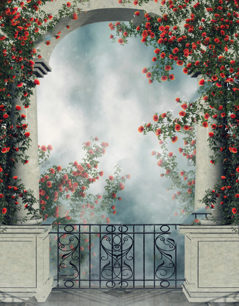 Fantasy arch balcony colorful rose vines column background vinyl cloth high quality computer print scenic backdrop in background from consumer electronics
