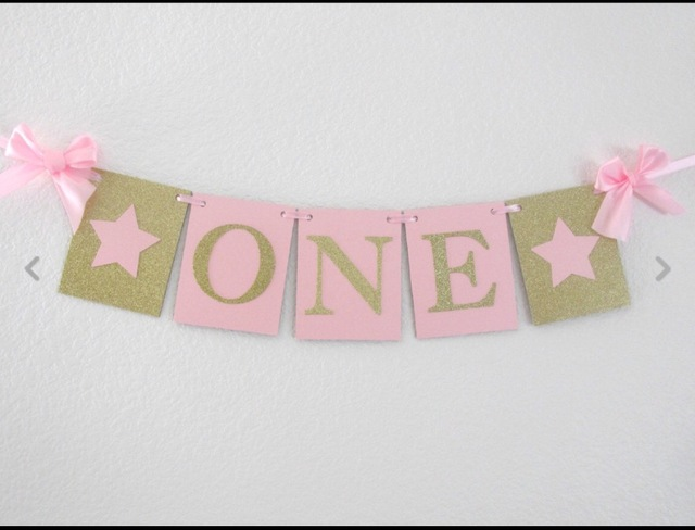 Handcraft Pink Twinkle Little Star Gold ONE Banner Sparkly Girl