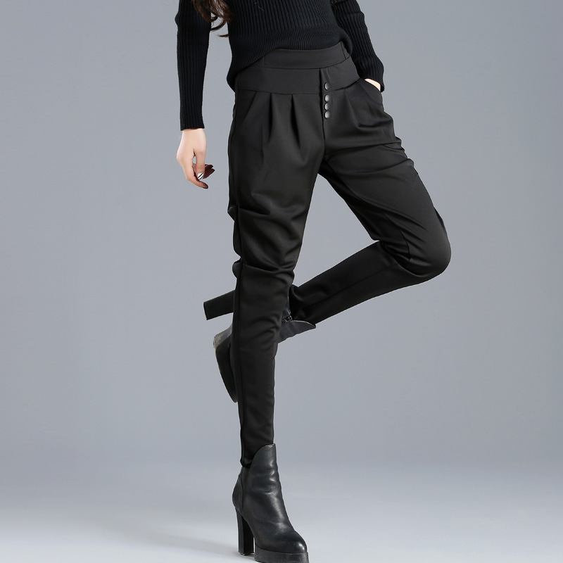 Hot 2019 Summer Korean Female Classic High Elastic Waist Harem Pants Fashion Slim Solid Color Ankle-length Pants Plus Size 4XL
