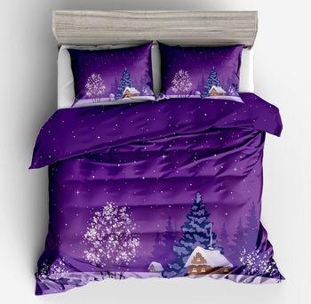 2018new fashion 3d Blue Purple Christmas Bedding Sets Winter Snow Night Sky Snow flake Duvet Cover pillpw case 2/3pcs Bedclothes