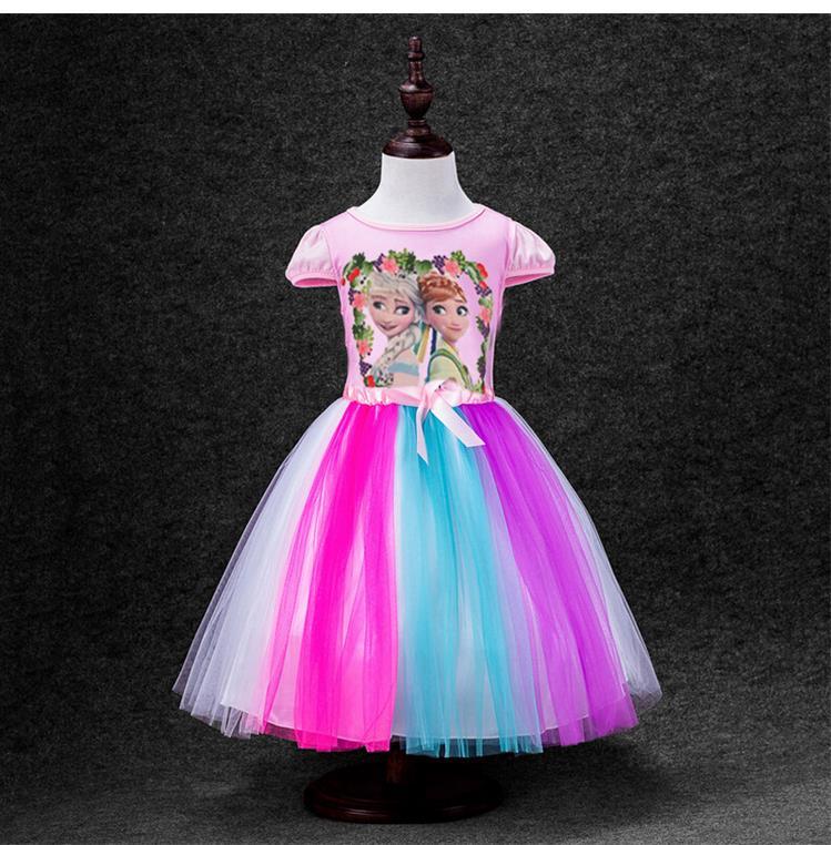 2016 new Girls Princess Dress for Kids little pony/Elsa/Anna girls Short Sleeve Cotton Tutu Dresses For Girl Christmas Costume