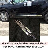 For Toyota Highlander 2015 2016 Car Styling Cover Detector Stainless Steel Side Door Body Trim Sticks