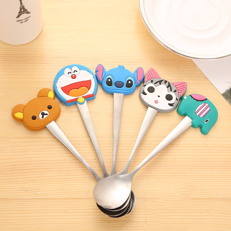 MATAVENI Animal Shape Stainless Steel Tea Coffee Spoon Soup Honey Spoon Kitchen Tableware Talheres Colher For Kids