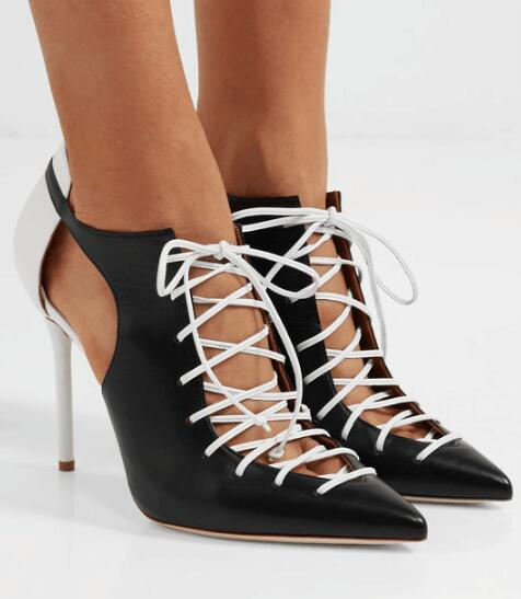 Summer Hot Women Patchwork Pointed Toe Cross-tied Lace Up Cutout Two-tone Leather Pumps Party Sexy Dress Shoes Lady Big SizeSummer Hot Women Patchwork Pointed Toe Cross-tied Lace Up Cutout Two-tone Leather Pumps Party Sexy Dress Shoes Lady Big Size