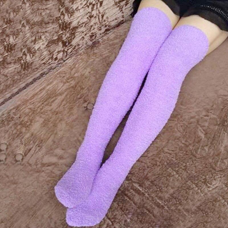 299ef22d338 Fuzzy Socks Women Blue Gray Purple Pink Knee High Warm Fuzzy Long Thick  Socks chaussette pour femme meias-in Socks from Underwear   Sleepwears on  ...