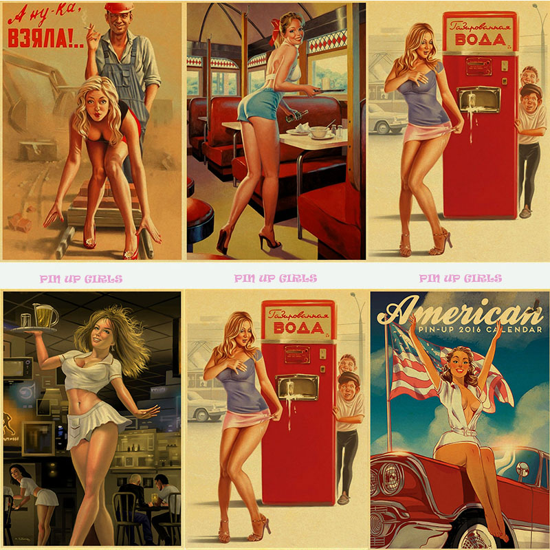 tableau mural Classic Vintage World War II Sexy Pin Up Girl Paper Poster Wall Painting For Living Room Home coffee bar image