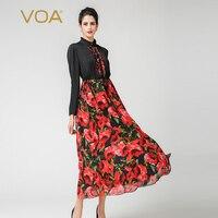 VOA плюс Размеры шелковые розы с Высокая Талия Тонкий туника корейские платья Винтаж оборками Для женщин Drawstring длинное платье осень A7126