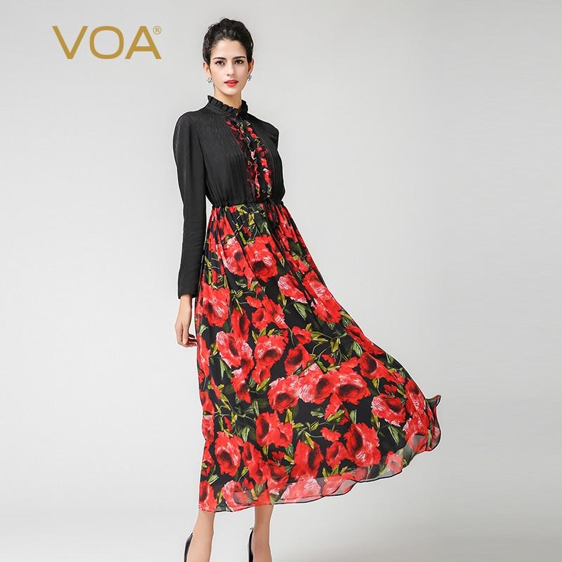 VOA Plus Size Silk Rose Printed High Waist Slim Tunic Korean Dress A7126