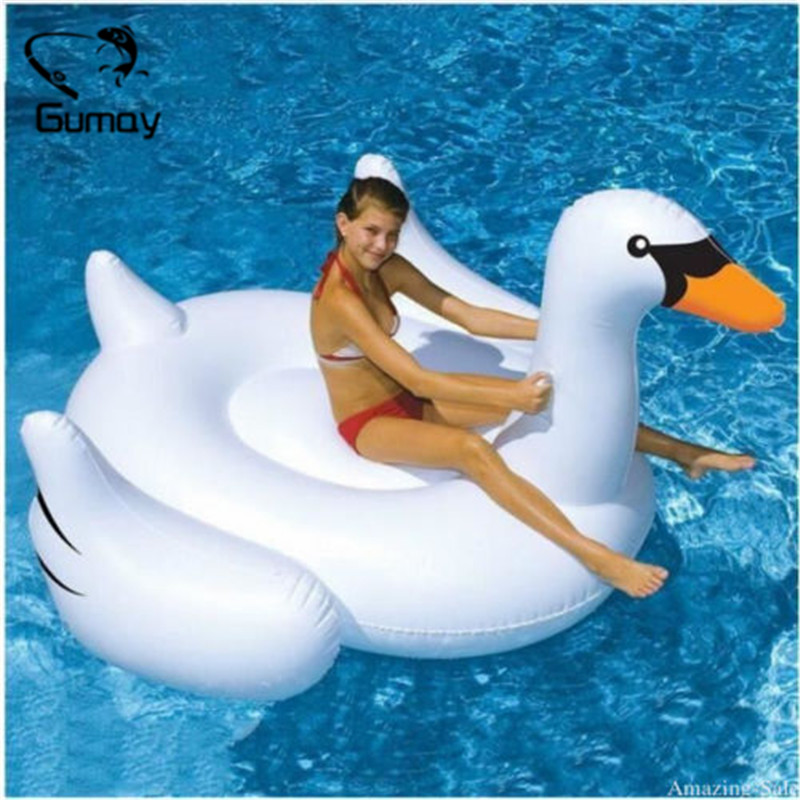 Gonflable Géant Swan 150 cm 60 pouce Géant Piscine Flotteur Blanc Tour-Sur Adultes Anneau De Natation Enfants de Vacances de L'eau partie Jouets Piscin