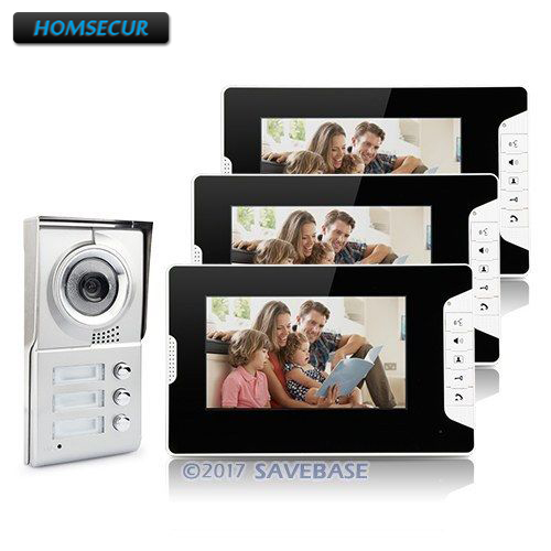 HOMSECUR Apartment Video Door Phone Intercom System 7 Monitor Camera For 3 Families Use