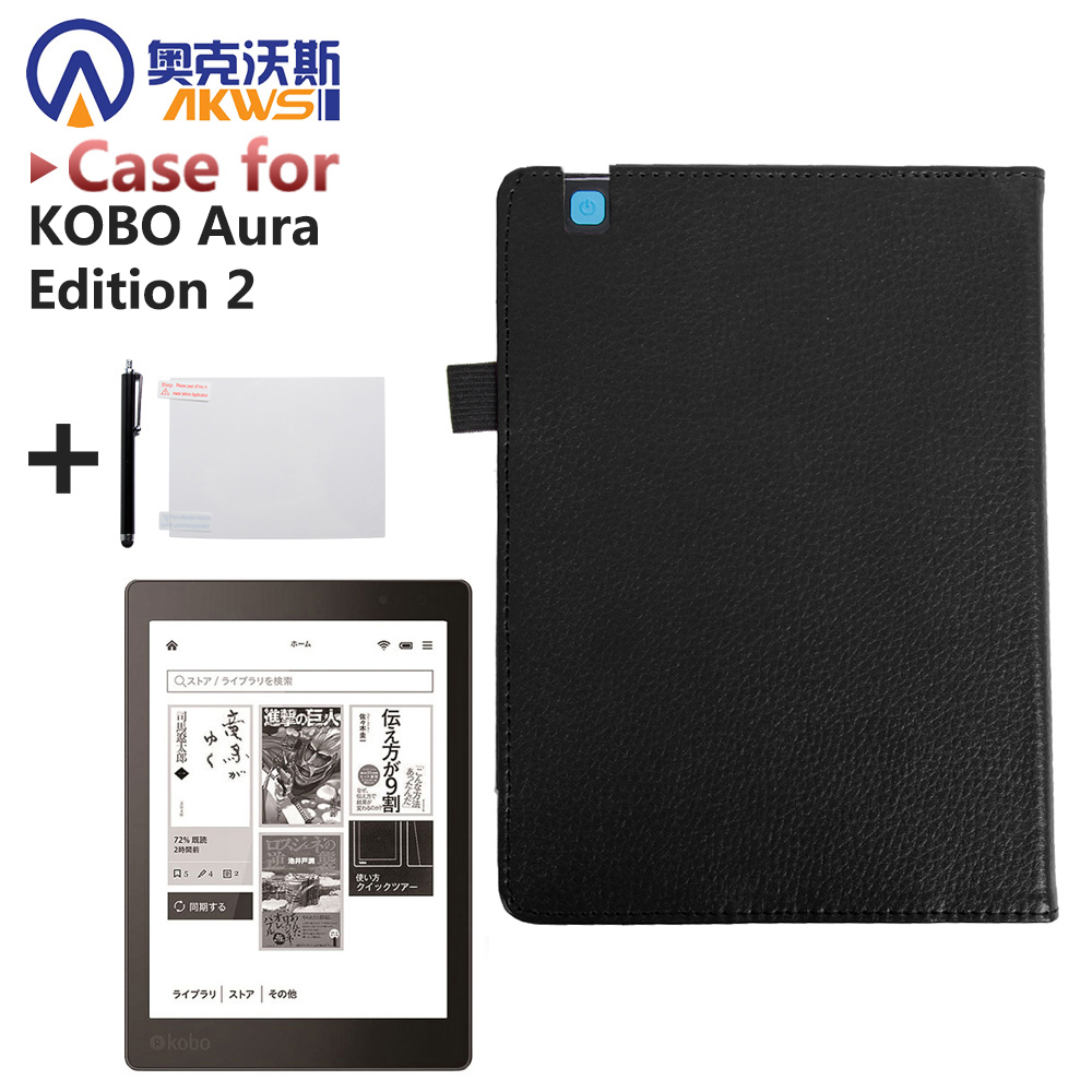 for KOBO Aura Edition 2 6 inch e-Book Protective case folio PU leather case + gift автомагнитола aura amh 300m page 6