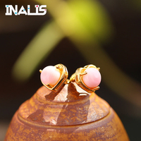 INALIS Simple Design S925 Sterling Silver Stud Earrings Heart Shape Cute Pink Crystal Brincos for Women Party Fine Jewelry Gift