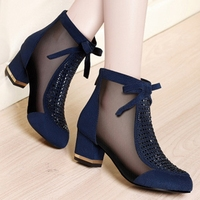 .2019 spring summer new European and American fashion casual mesh rhinestone net boots high heel boots women thick with sandals