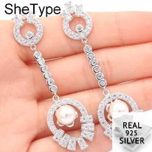Long Big Heavy 12.34g White Sapphire Pearl Wedding Ladies 925 Solid Sterling Silver Earrings 64x19mm