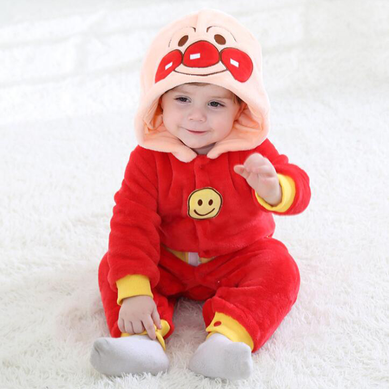 Flannel Baby Anpanman Kigurumi Pajamas Clothing Newborn Animal Anime Infant Romper Onesie Cosplay Costume Outfit Hooded Jumpsuit