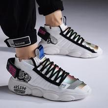 Сетчатые мужские повседневные кроссовки на массивном каблуке; мужская обувь на шнуровке; Легкие дышащие кроссовки для прогулок; tenis feminino zapatillas hombre