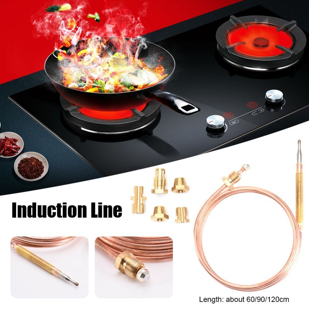 60/90/120cm Gas Valve Induction Line Thermocouple With 5 Fixed Parts For Hot Water Boiler Gas Appliances