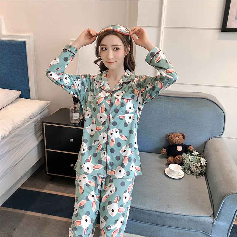 6dacfca1b8 Elegant Luxury Women Comfortable Cotton Pajama Set Girl Print Pyjama ...